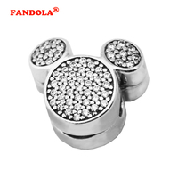 Fit Pandora Bracelets Mouse Ears Clip Charm Beads with Clear CZ Authentic 925 Sterling Silver Charms DIY Jewelry Wholesale CL024