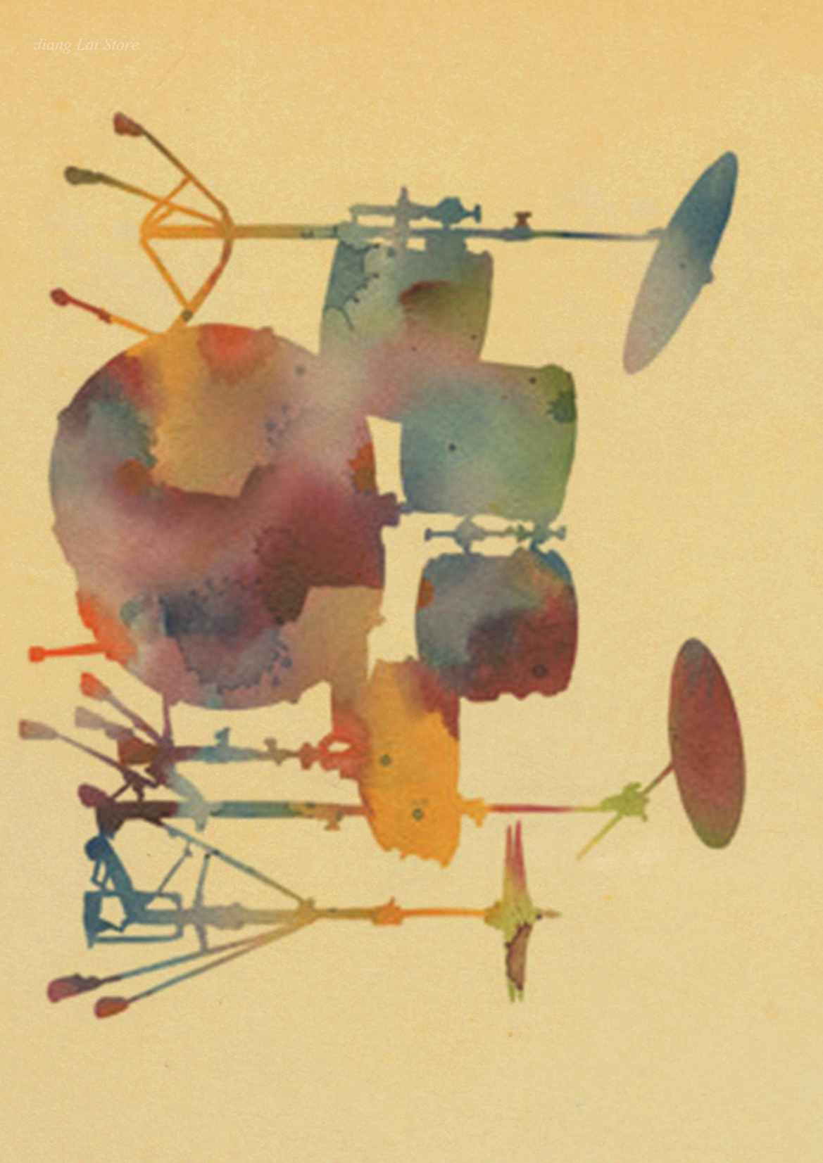 DIY Original Drum kit set vintage painting wall retro Poster print ...