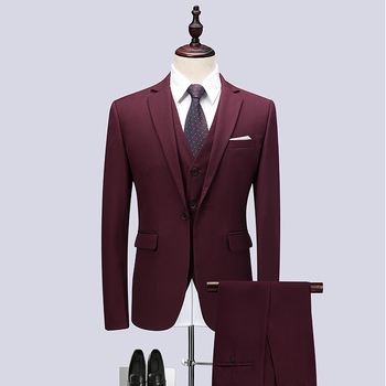2019 New Wine Red High Quality MenS Suit Three-Piece High-End Business Slim Luxury Social Dinner Costume