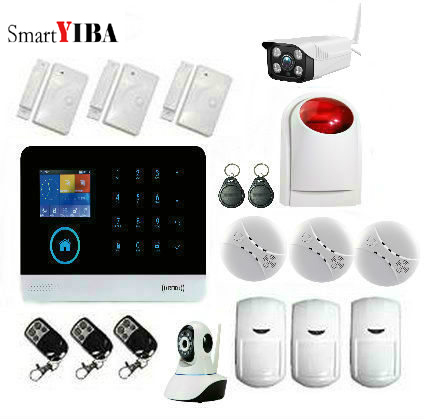 SmartYIBA 3G WCDMA WIFI Home Burglar LCD Touch Screen Alarm Panel Home Security Alarm System Outdoor IP Camera Smoke Fire Sensor