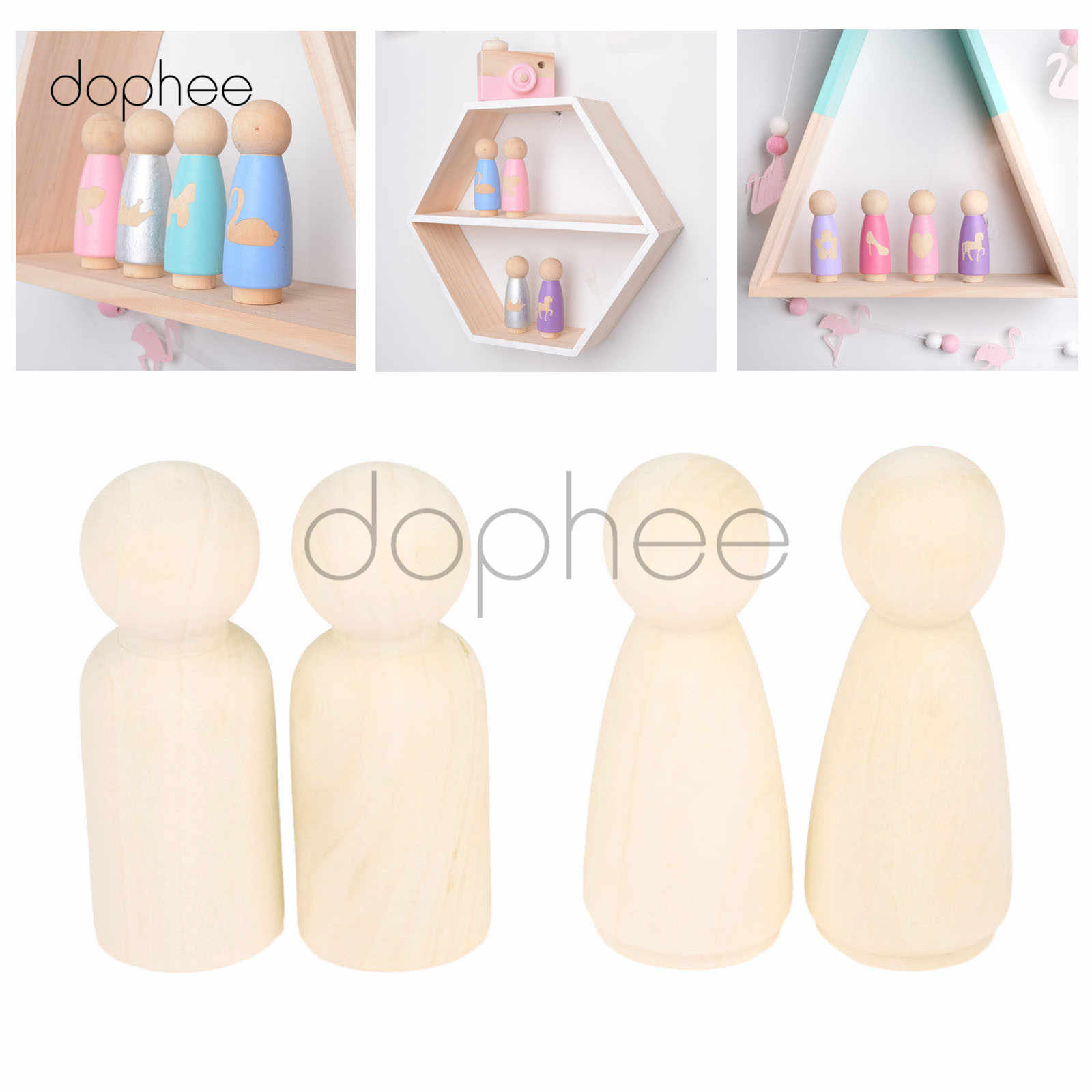 dophee 10pcs 55mm Men or Women Wooden Peg Dolls Unpainted Figures Wedding Cake Family Hard Wood Dolls Kid's Printed DIY Toys