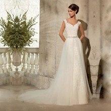 Custom Made New Design 2017 A-line Tulle Crystal Belt Elegant Long Bride Wedding Dress Muslim vestido de noiva