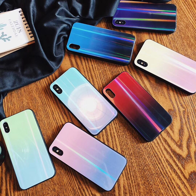 BONVAN For iPhone X 7 8 Plus Tempered Glass Back Case Gradient Color Laser Aurora Silicone Bumper For iPhone 7 6S 8 6 Plus Cover07