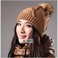 Winter женщины Cap с Лисий Мех Большой Мяч Сплошной Цвет Дамы Трикотажные шляпы и Шапки С Меховыми Пом Пом для Женщин Skullies & Шапочки