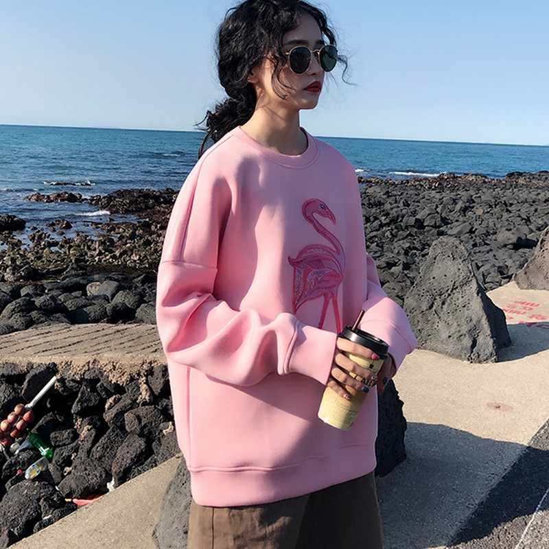 Pink Flamingo Embroidery Space Cotton Sweatshirt 1
