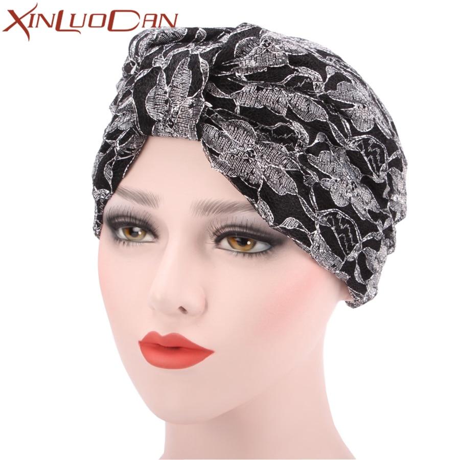 New Fashion Chemo Hats Turban Muslim Cap Womens Lace Beanie Head Scarf Head Wrap Caps Bonnet Chimio Coton Casual Wholesale WH275