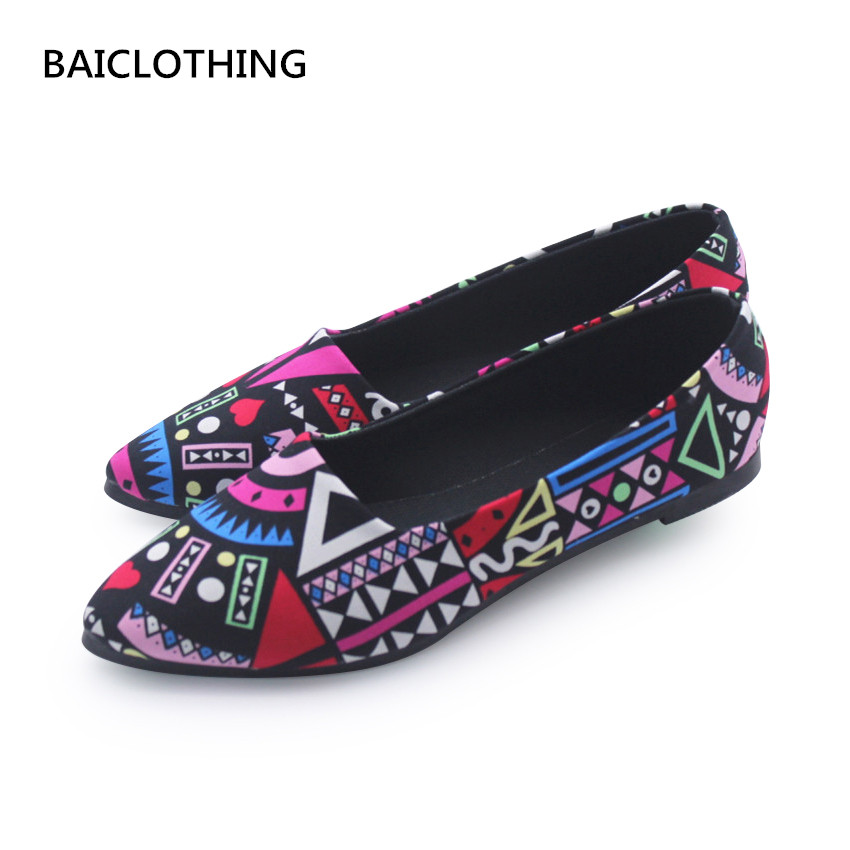 BAICLOTHING sapatos femininos women casual point toe flat shoes female spring & summer flats lady cute slip on pattern shoes baiclothing women casual pointed toe flat shoes lady cool spring pu leather flats female white office shoes sapatos femininos