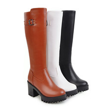 Large size 34-45 knee high boots in autumn winter platform shoes woman PU soft leather high heels boots female