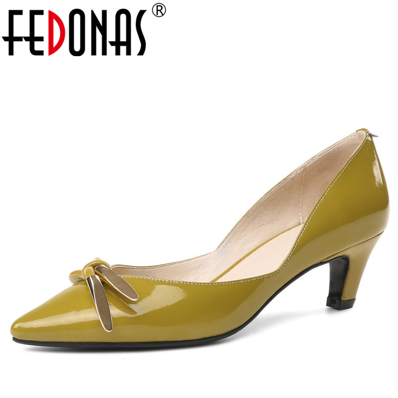 FEDONAS OL Office Lady Shoes Patent Leather High Heels Pointed Toe Dress Shoes Woman Basic Pumps Women Bowtie Knot Wedding Shoes sorbern elegant fish scales pump high heels women shoes pointed toe ol shoes wedding shoes stilettos womens basic pumps