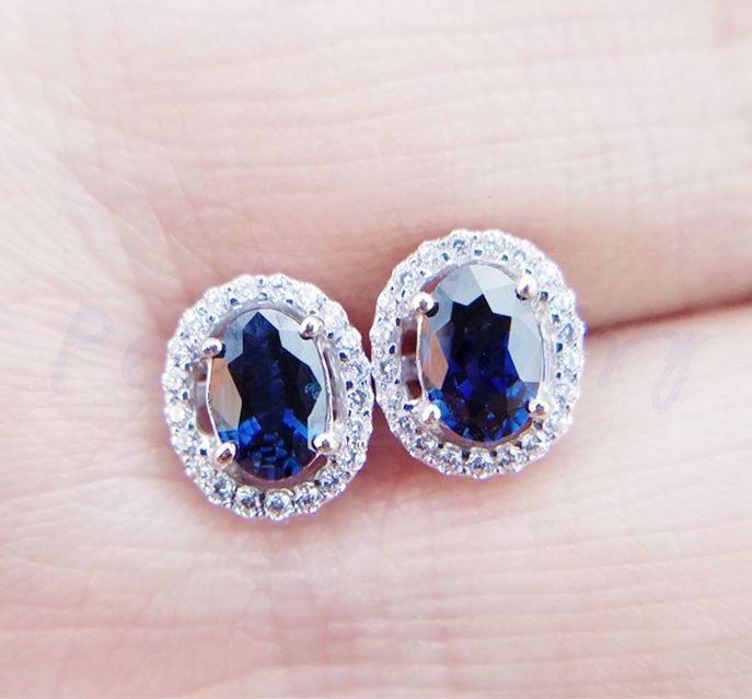 3dd2fc4fa Sapphire earring stud earrings 0.6ct*2pcs gems Natural real sapphire 925  sterling silver Fine ...