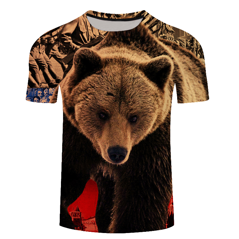 Brand Russia <font><b>T</b></font>-<font><b>shirt</b></font> Bear <font><b>3D</b></font> <font><b>T</b></font> <font><b>Shirt</b></font> Tshirt Summer <font><b>T</b></font> <font><b>Shirt</b></font> Men Anime Tshirts <font><b>Sexy</b></font> Male Tees Tops Mens Clothing Youth Cool Tee image