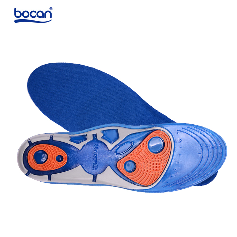 Bocan Silicon Gel Insoles High Quality Foot Care for Plantar Fasciitis Heel Spur Running Sport Insoles Shock Absorption Pads bocan gel insoles for spur plantar