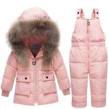 Зимняя одежда для мальчиков, Детские Пуховые костюмы, коллекция 2018 года, куртка для маленьких девочек, комплекты одежды, комбинезоны, теплая детская верхняя одежда + комбинезон, зимний комбинезон