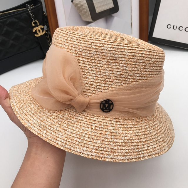 Female hat knitting hat small and pure and fresh straw hat new wide brim is  prevented bask in summer summer flowers b59c6d6be396