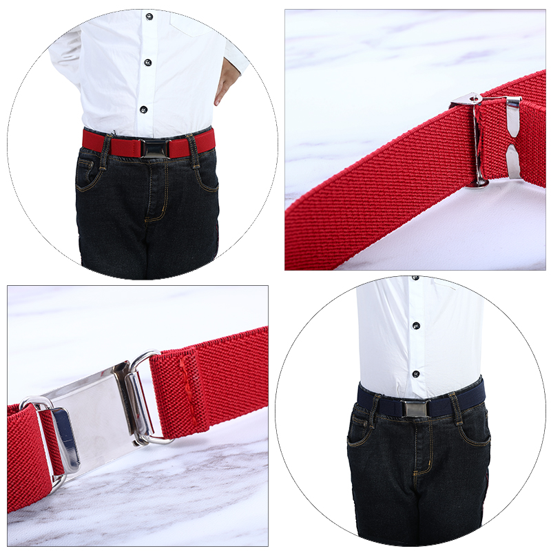 Boys Kids Magnetic Buckle Belt Stretch Adjustable Elastic Canvas Children Belts