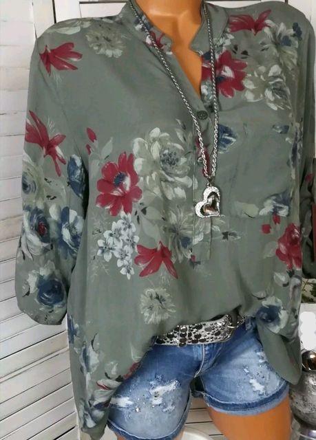 Summer Women Tops Blouses 2019 Autumn Elegant Long Sleeve Print V-Neck Chiffon Blouse Blusa Casual Loose Shirts Plus Size 5XL 5