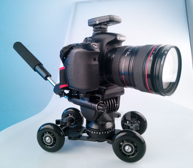 bilder für DSLR Rig Fotografie Dolly + Professionelle Flüssigkeit Stativkopf für 5D Mark III 6D D810 DSLR Kamera Fotostudio Zubehör