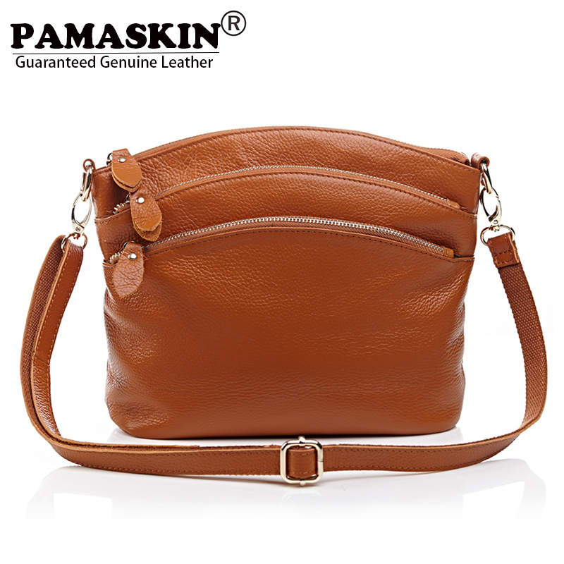 PAMASKIN Cow Leather Women Casual Half Moon Shoulder Bags 2018 Hot Brand Female Messenger Bag Practical New Travel Bags Feminina 2017 hot sales female fashion women cute messenger bags rivet shoulder bag leather crossbod new brand a8
