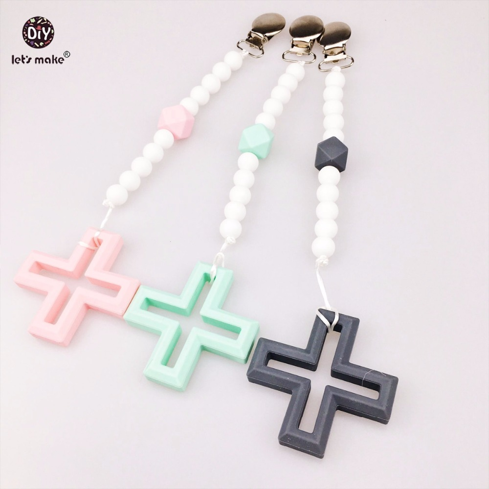 Silicone Cross Teething Pacifier Clip 3pcs Food Grade Teether Chewable Beads Infant Toys Baby Accessories Activity