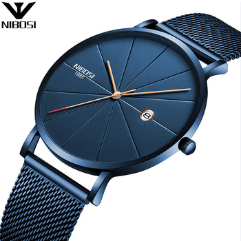 NIBOSI Luxury Watches Men Blue Stainless Steel Ultra Thin Watches Men Classic Quartz Date Wrist Watch Sport Relogio Masculino Тахеометр