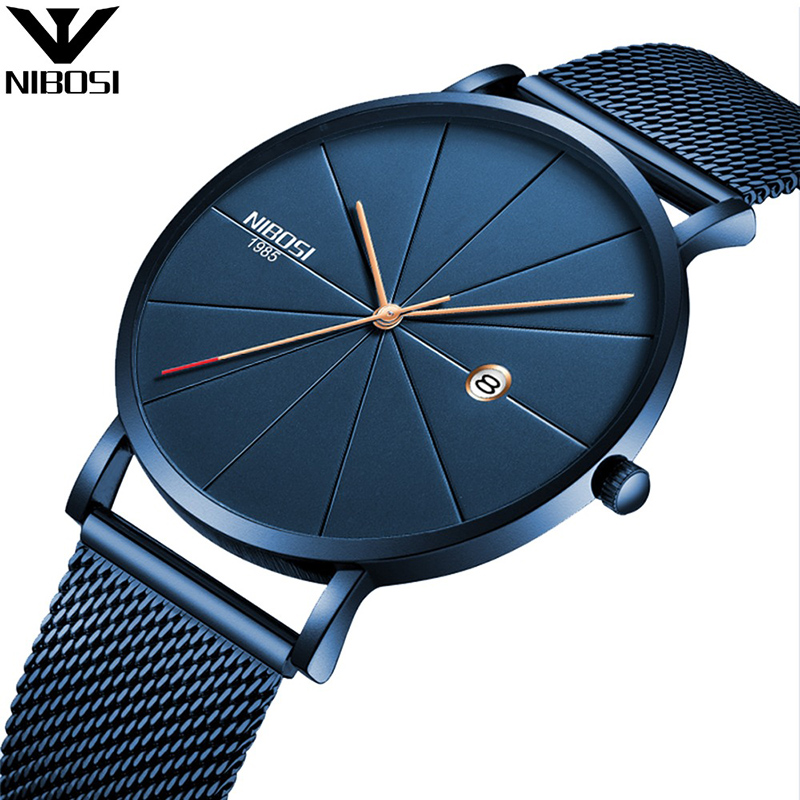 NIBOSI Luxury Watches Men Blue Stainless Steel Ultra Thin Watches Men Classic Quartz Date Men's Wrist Watch Relogio Masculino ctpor luxury watches men black stainless steel ultra thin watches men classic quartz date men s wrist watch relogio masculino d