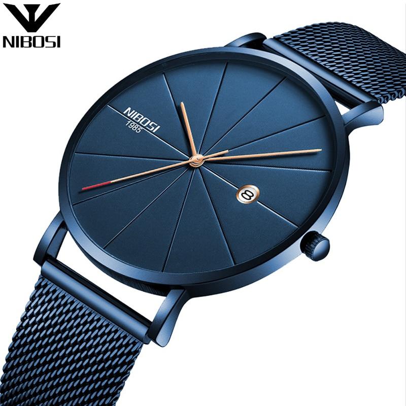 NIBOSI Luxus Uhren Männer Blau Edelstahl Ultradünne Uhren Männer Klassische Quarz Datum herren Armbanduhr Relogio Masculino