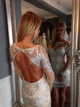 Vestidos De Festa Gerade Kristall Prom Kleider 2017 Scoop Volle Hülse Backless Short Mini 2017 Perlen Kurze Cocktailkleider