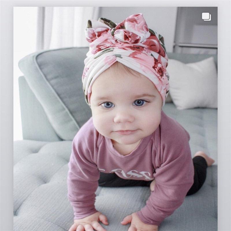 Baby Beanies Caps Newborn Girls Turban Toddler Hats Babe Bows Headband