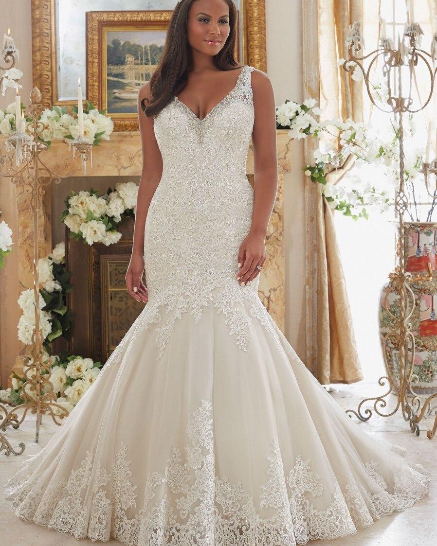 49dc5bb4c12d Vestido De Noiva Plus Size 2019 Simples Marfim Sexy Vestido Plus Size  Vestido de Casamento Do Laço Da Sereia Do Vintage Vestidos de Casamento  Africano 2019 ...