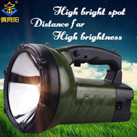 JUJINGYANG Outdoor lighting camping waterproof flashlight strong light remote charging portable searchlight yellow halogen lamp