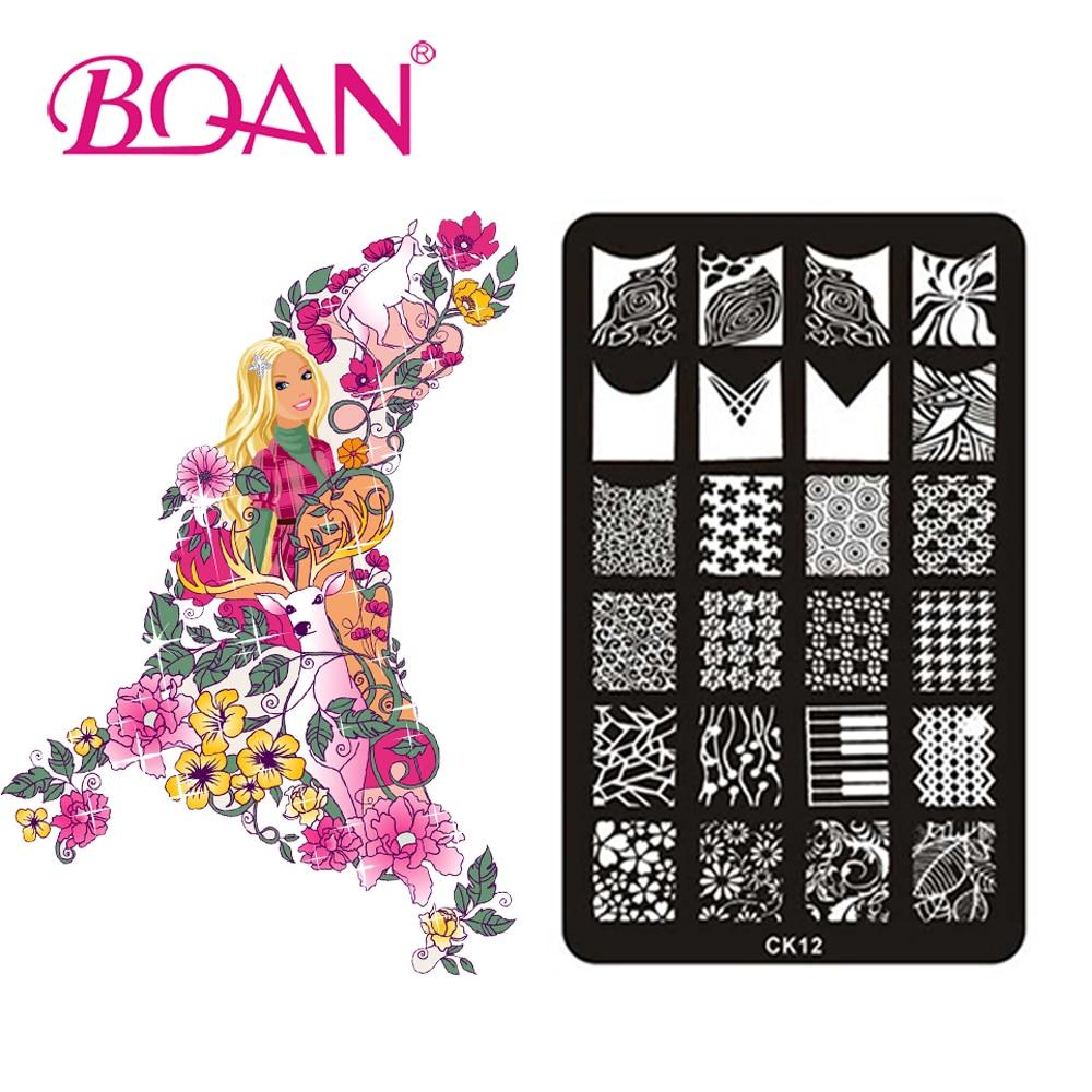 BQAN Neue 1 stück 24 Verschiedene Muster Blumen Stanzen Nagellack ...