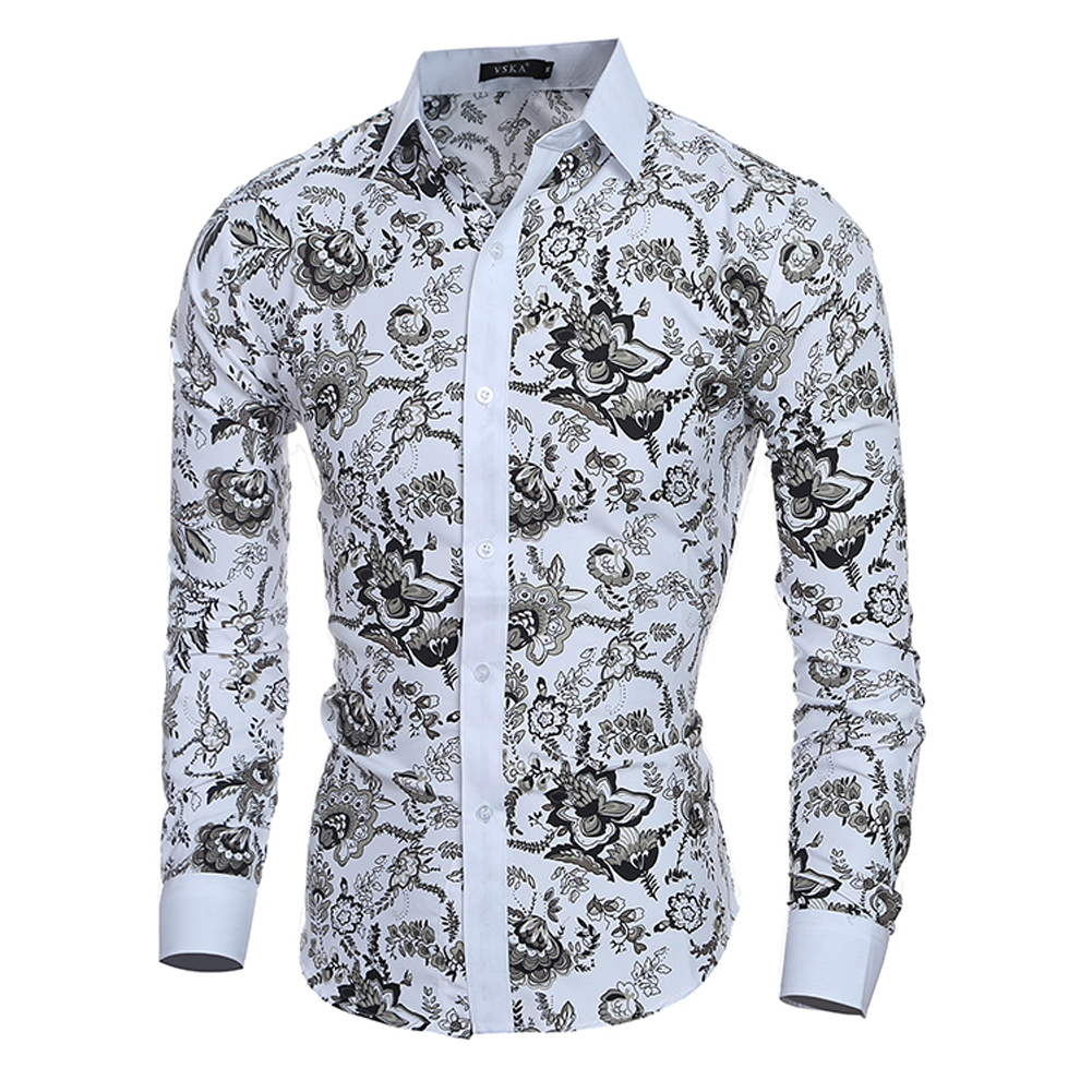 2018 Male Floral Print Dress Shirts Mens Shirt Slim Fit Men Shirt Ethnic Flowers Long Sleeve Casual Shirts