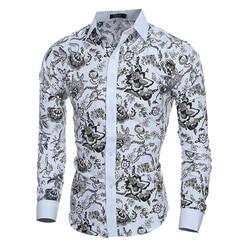 Male Floral Print Dress Shirts Mens Shirt Slim Fit Ethnic Flowers Long Sleeve Casual Cotton Fashion Spring Tops Men Shirts