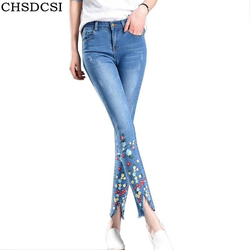 Bottes Femme Mi Taille Skinny Jeans Fleur Brode Jeggings Pantalon 6 16
