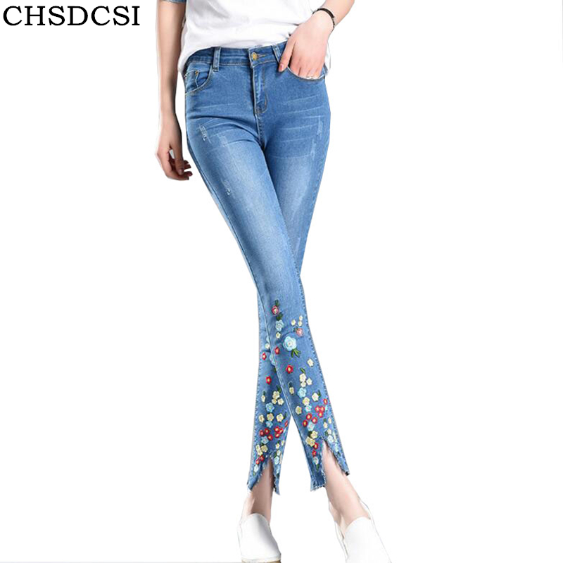 CHSDCSI Skinny Jeans With Embroidery Ankle Pencil Pants Slim Elastic Denim Pants Printing Leggins For Women Hole Jeggings Jeans dkny jeans women s printed denim ankle jeggings 2p multi