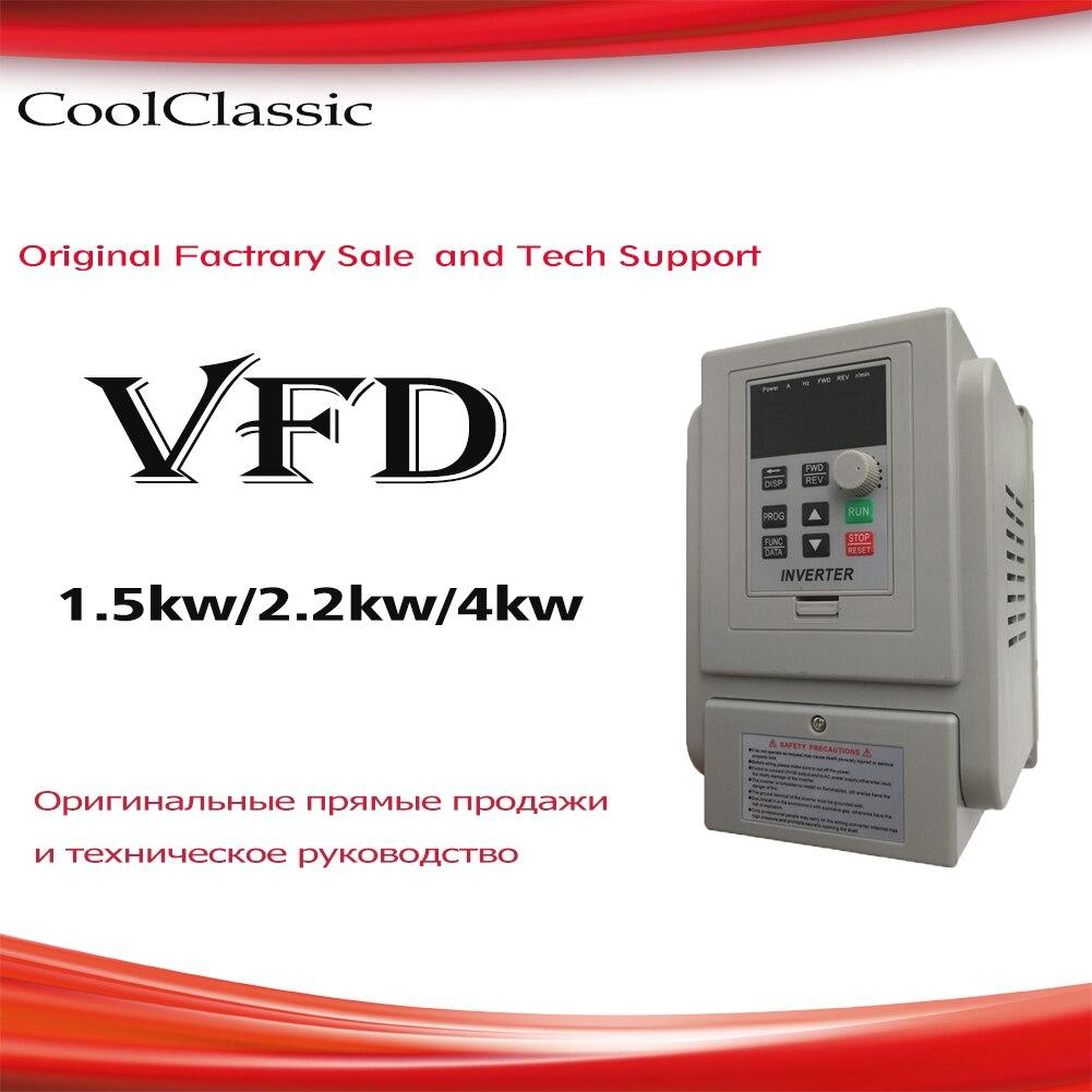 VFD 1.5KW/2.2KW/4KW CoolClassic VFD onduleur convertisseur de fréquence variateur de fréquence pour moteur ZW-AT1 3 P 220 V Sortie wcj5.