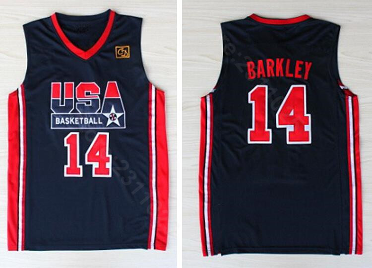 3e28df572033 Ediwallen Free Shipping 14 Charles Barkley Jersey Men 1992 USA Dream Team  One Basketball Jerseys Uniform Navy Blue All Stitched-in Basketball Jerseys  from ...