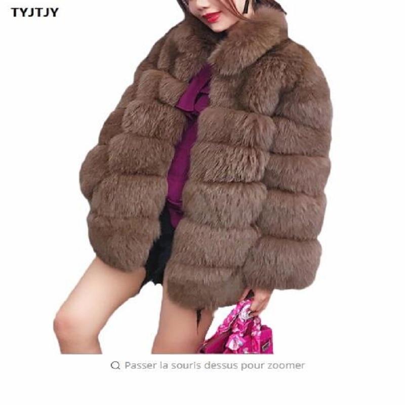 2018 Faux Fur Coat Plus Size Winter New Fashion Brand Faux Fur Fox Jacket Woman Warm Good Quality Warm Thick Faux Fur Coat