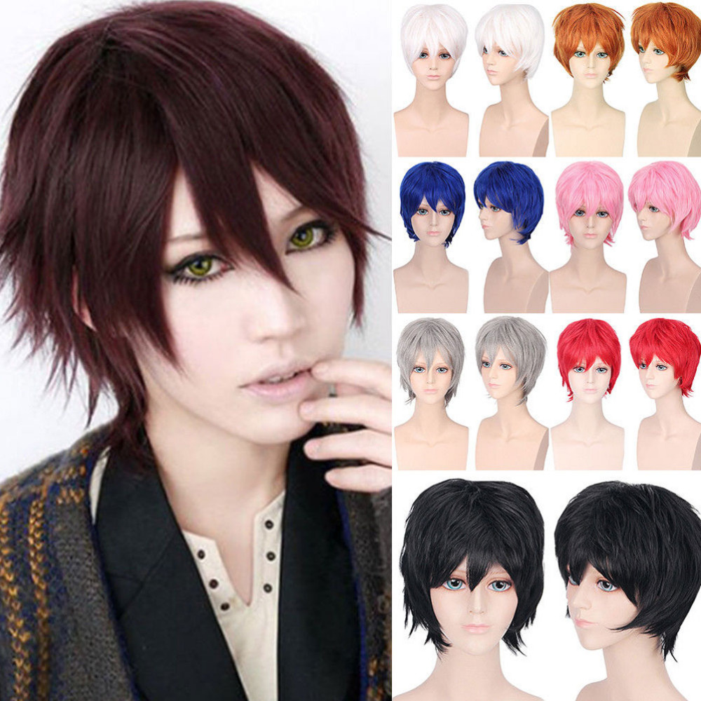 S-noilite Black White Purple Red Short Hair Cosplay Wig Male Party 30 Cm High Temperature Fiber Synthetic Hair Wigs