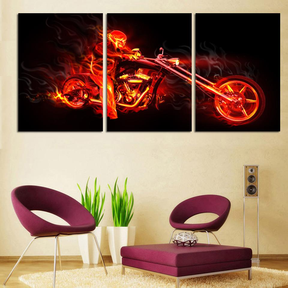 Painting Canvas For Living Room 3pcs Motorcycle Painting Canvas Wall Art Picture Home Decoration