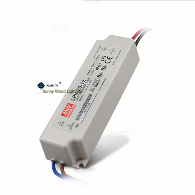 IP67 LPS Class 2 ,100-240Vac input ,12VDC output power supply ,1.67A 20W  driver for outdoor  CE UL LPV-20-12