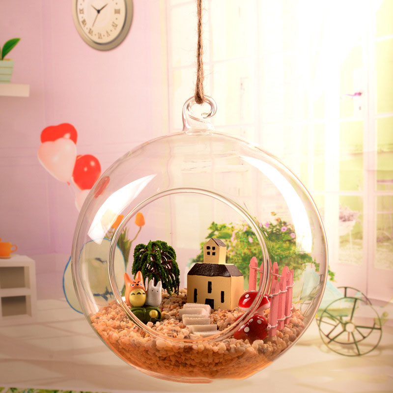 1pcs Transparent Clear Wall Hanging Glass Vase Terrarium Plants Flower Hydroponic Landscape Diy Bottle Candlestick Home Decor 25