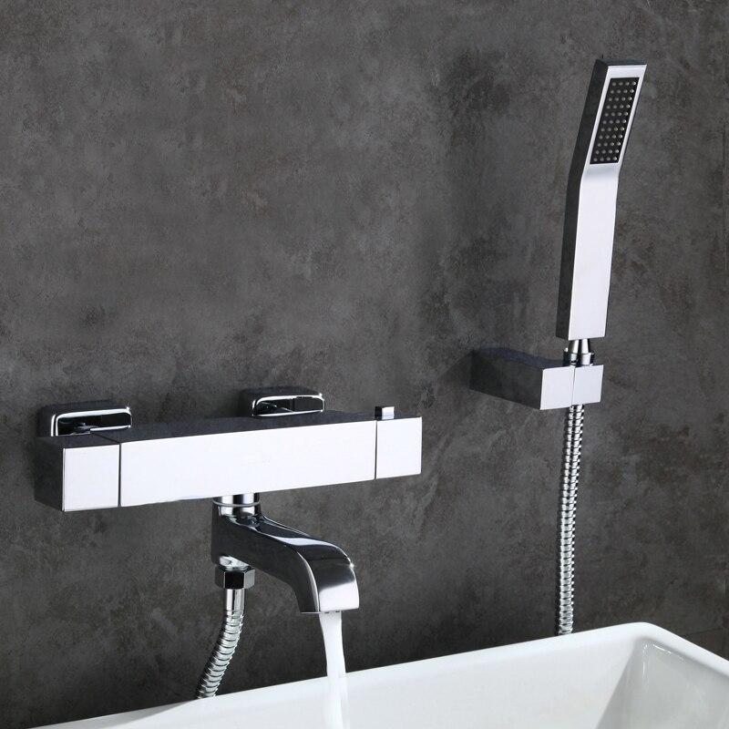 Freies verschiffen Messing Thermostat Wasserhahn Dusche Armaturen Wand Montiert Badewanne Mixer Bad Set torneira banheiro chuveiro AF085