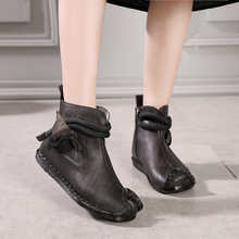 2018 VALLU New Original Vintage Shoes Women Ankle Boots Genuine Leather Hand Sewing Side Zipper Soft Comfort Ladies Flat