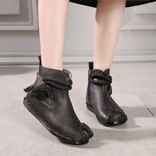 купить 2018 VALLU New Original Vintage Shoes Women Ankle Boots Genuine Leather Hand Sewing Side Zipper Soft Comfort Ladies Flat Boots дешево