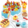 75 PCS Cookware Set Pretend Play Birthday Cake DIY Model Kids Early Educational Classic Toy Kitchen Food Plastic Assembly Toy