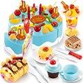 75 unids utensilios de cocina set pretend play pastel de cumpleaños diy modelo de los niños temprano educativo juguete clásico cocina comida de plástico conjunto de juguete