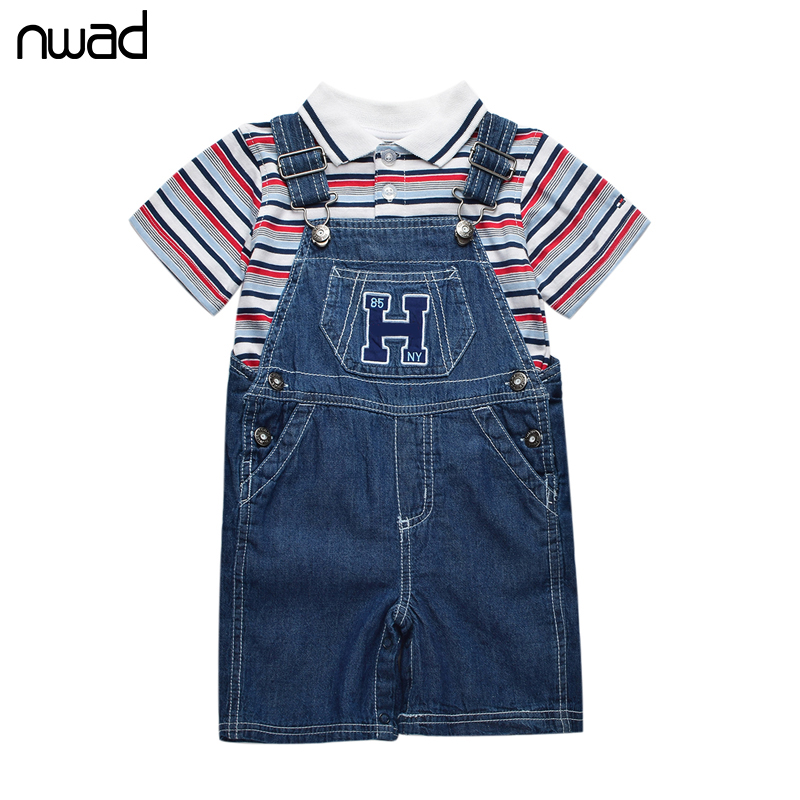 Summer Baby Boy Clothing Set 2017 Brand Newborn Baby Sttriped Clothes Suit Top + Suspenders Denim Trousers Infant Clothing FF091