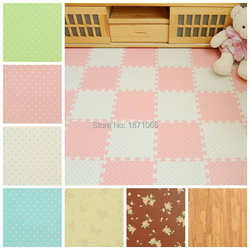 Wood Floor Padding Wood Foam Floor: 10Pcs Baby Toys Flower Colors Wood Interlock EVA Foam