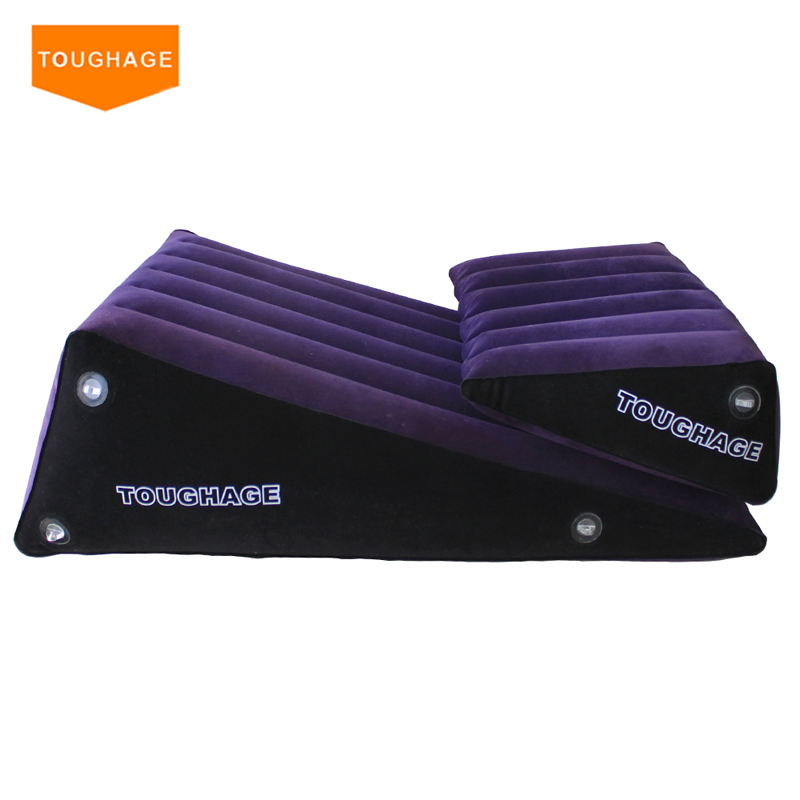ФОТО Toughage Inflatable Sex Pillow sex sofa 2 pcs Wedge Triangle Pad Helpful Adult Sex Sofa Chair Adult Sex Furniture Sofa PF3203